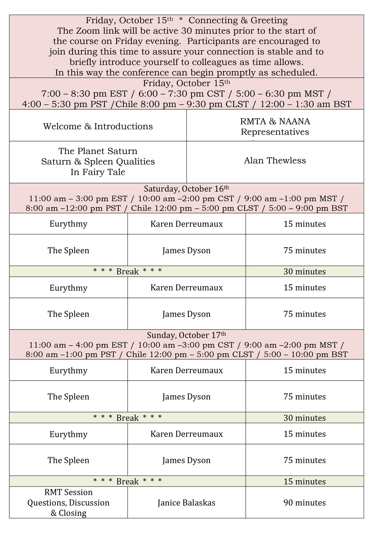 Rhythmical Massage Therapy of North America Saturn and Spleen Conference Schedule October 15-17-2021